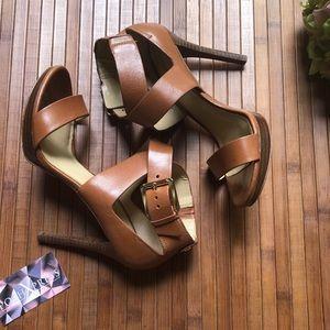 Michael Kors Brown Leather Heels Size 8.5